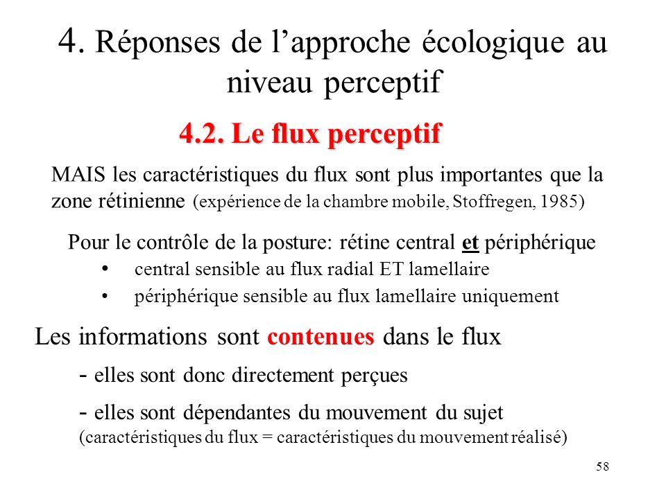 58 4.2. Le flux perceptif 4. Réponses de lapproche écologique au niveau perceptif MAIS les caractéristiques du flux sont plus importantes que la zone
