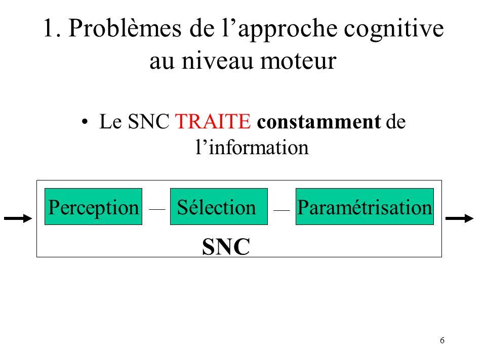 6 Le SNC TRAITE constamment de linformation PerceptionSélectionParamétrisation SNC 1. Problèmes de lapproche cognitive au niveau moteur