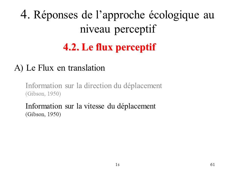 1s61 4.2. Le flux perceptif 4. Réponses de lapproche écologique au niveau perceptif A) Le Flux en translation Information sur la direction du déplacem