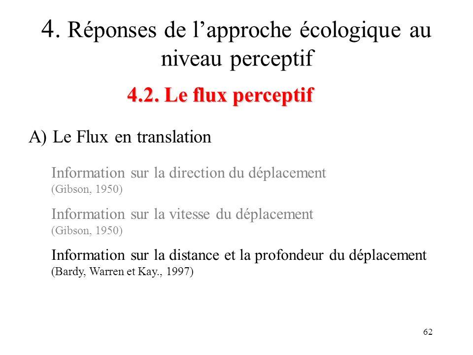 62 4.2. Le flux perceptif 4. Réponses de lapproche écologique au niveau perceptif A) Le Flux en translation Information sur la direction du déplacemen