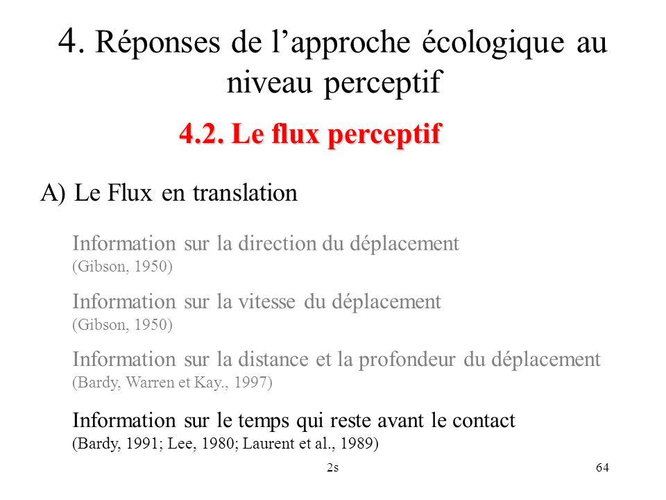2s64 4.2. Le flux perceptif 4. Réponses de lapproche écologique au niveau perceptif A) Le Flux en translation Information sur la direction du déplacem