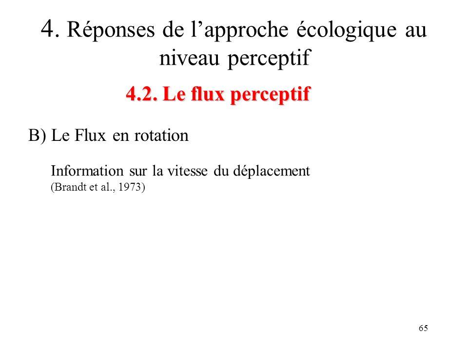 65 4.2. Le flux perceptif 4. Réponses de lapproche écologique au niveau perceptif B) Le Flux en rotation Information sur la vitesse du déplacement (Br