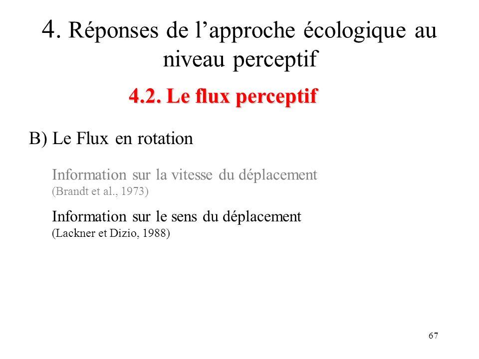 67 4.2. Le flux perceptif 4. Réponses de lapproche écologique au niveau perceptif B) Le Flux en rotation Information sur la vitesse du déplacement (Br
