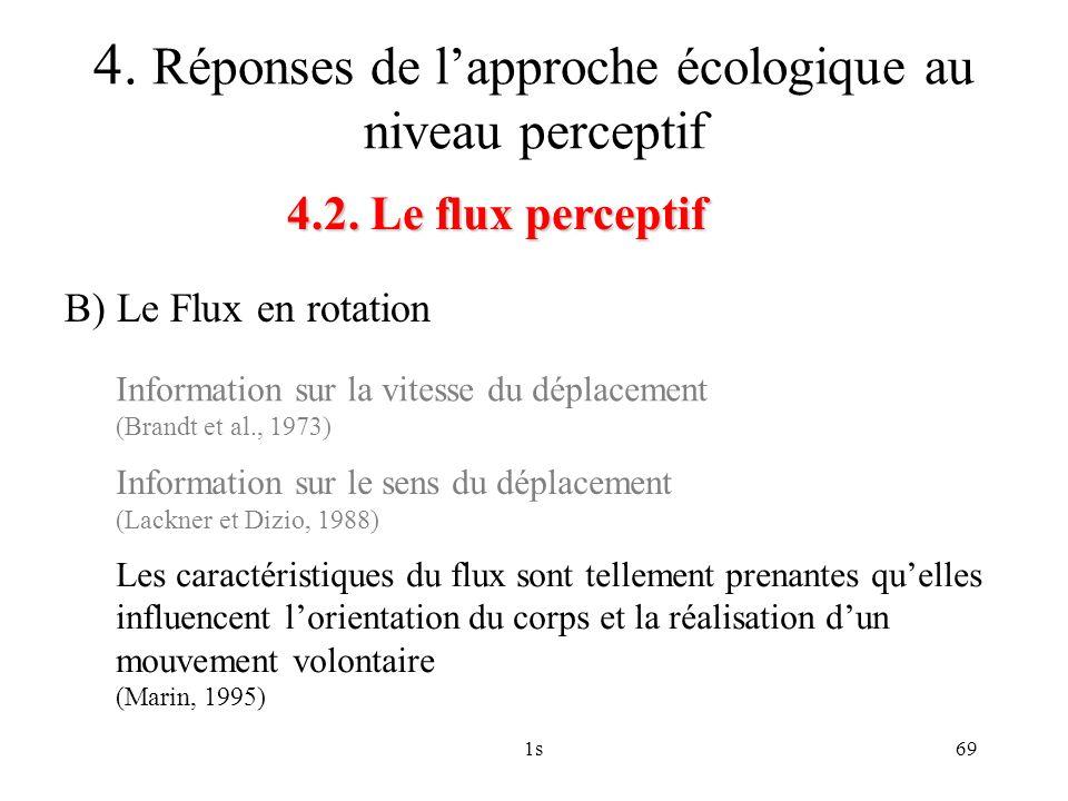 1s69 4.2. Le flux perceptif 4. Réponses de lapproche écologique au niveau perceptif B) Le Flux en rotation Information sur la vitesse du déplacement (