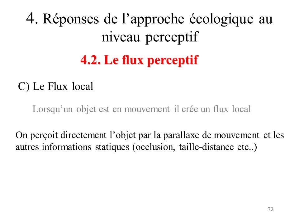 72 4.2. Le flux perceptif 4. Réponses de lapproche écologique au niveau perceptif C) Le Flux local Lorsquun objet est en mouvement il crée un flux loc