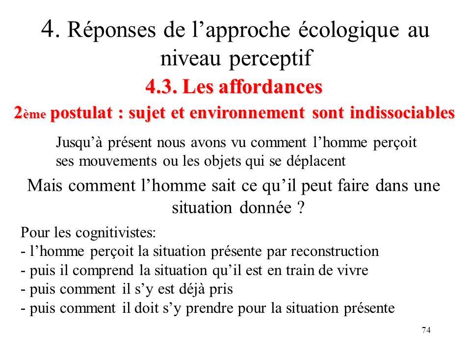 74 4.3. Les affordances 2 ème postulat : sujet et environnement sont indissociables 4. Réponses de lapproche écologique au niveau perceptif Jusquà pré
