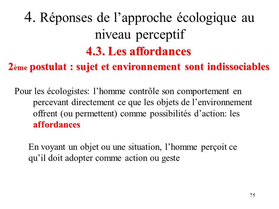 75 4.3. Les affordances 2 ème postulat : sujet et environnement sont indissociables 4. Réponses de lapproche écologique au niveau perceptif affordance