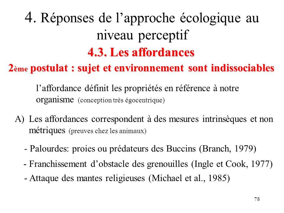 78 4.3. Les affordances 2 ème postulat : sujet et environnement sont indissociables 4. Réponses de lapproche écologique au niveau perceptif A)Les affo