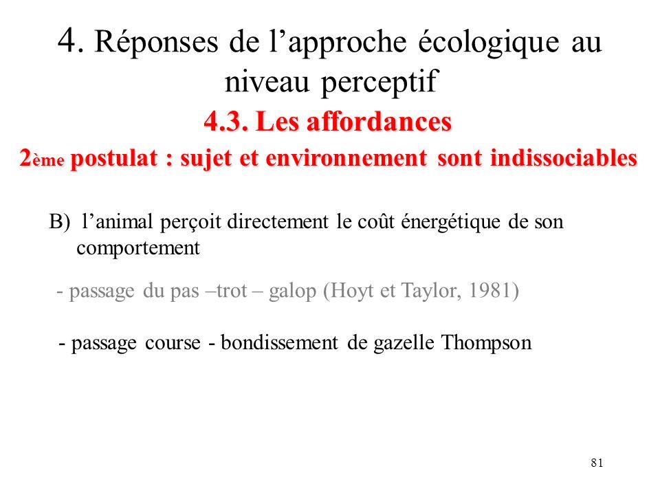 81 4.3. Les affordances 2 ème postulat : sujet et environnement sont indissociables 4. Réponses de lapproche écologique au niveau perceptif B) lanimal