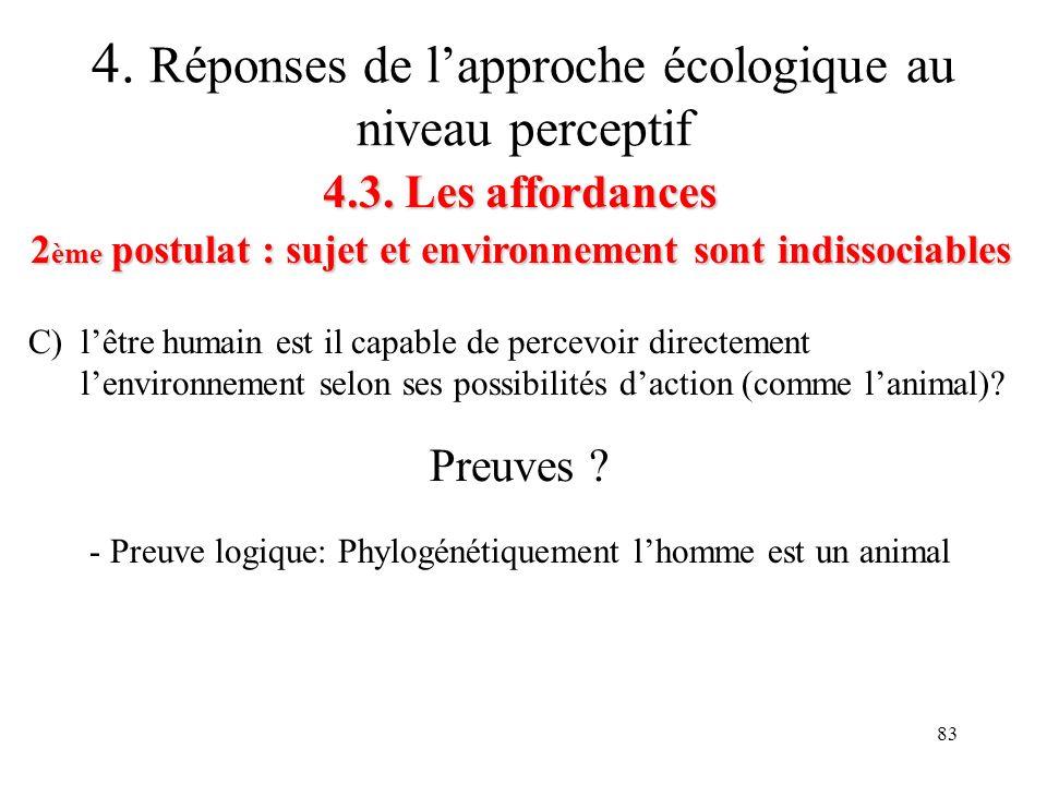 83 4.3. Les affordances 2 ème postulat : sujet et environnement sont indissociables 4. Réponses de lapproche écologique au niveau perceptif C) lêtre h