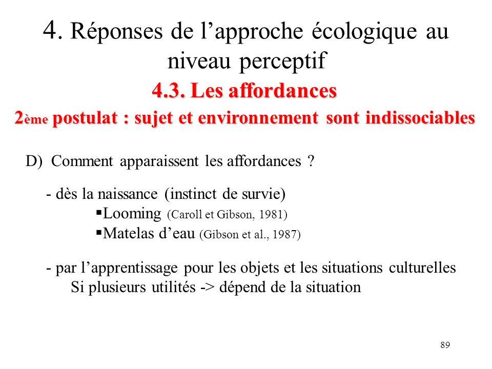89 4.3. Les affordances 2 ème postulat : sujet et environnement sont indissociables 4. Réponses de lapproche écologique au niveau perceptif D) Comment