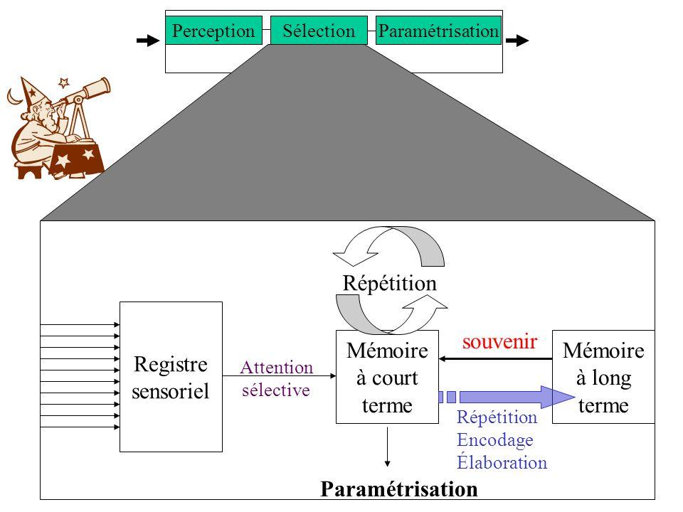 9 SNC SélectionParamétrisationPerception Attention sélective Registre sensoriel Mémoire à court terme Mémoire à long terme Répétition Encodage Élabora