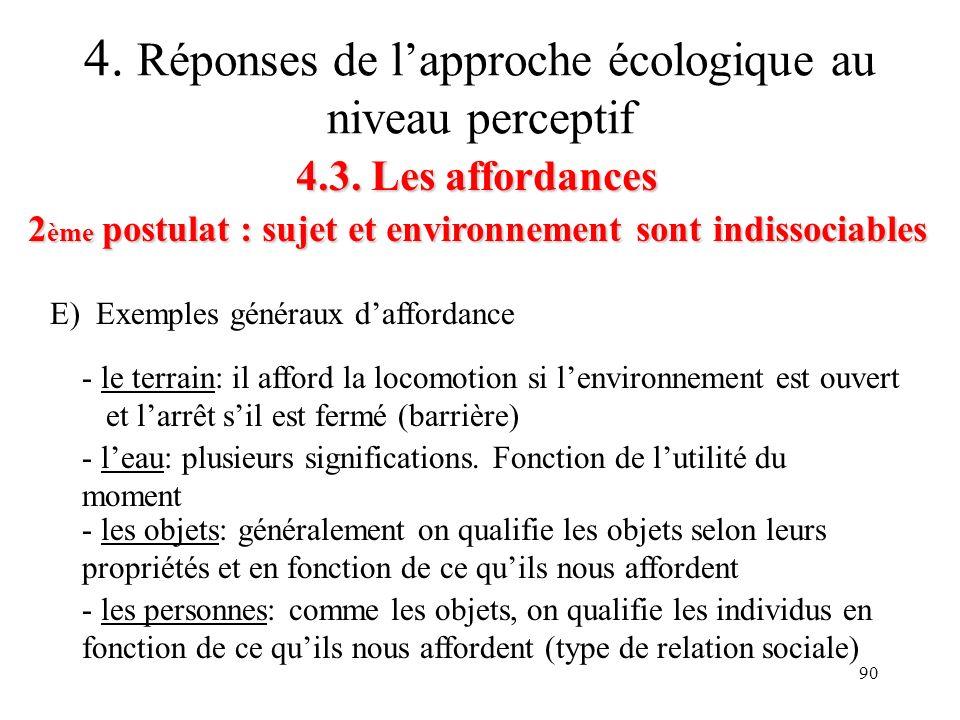 90 4.3. Les affordances 2 ème postulat : sujet et environnement sont indissociables 4. Réponses de lapproche écologique au niveau perceptif E) Exemple