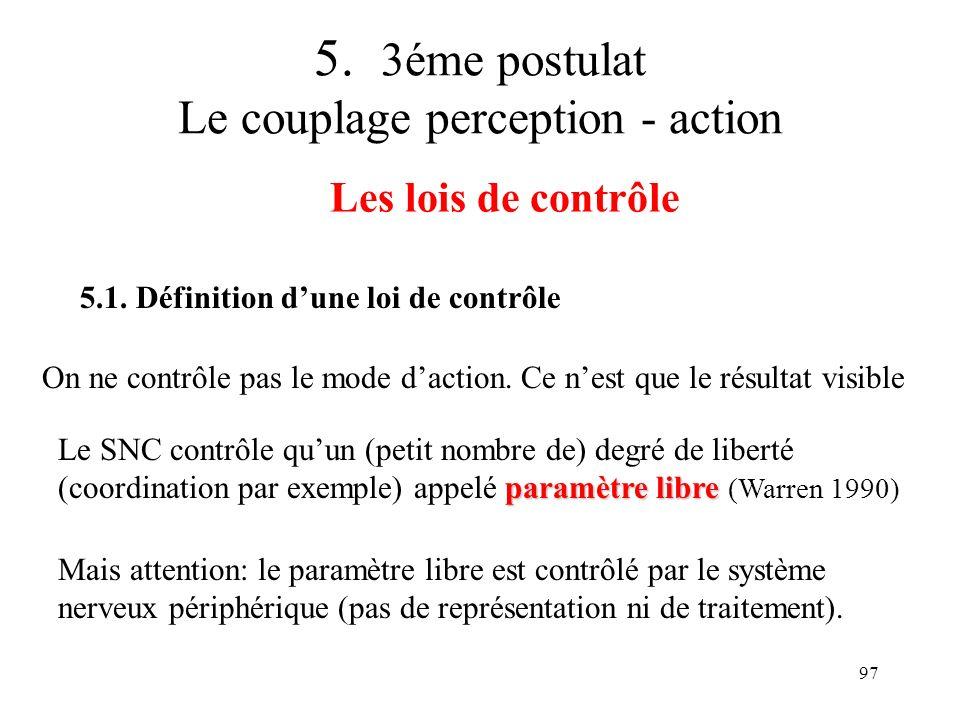 97 5. 3éme postulat Le couplage perception - action Les lois de contrôle 5.1. Définition dune loi de contrôle On ne contrôle pas le mode daction. Ce n