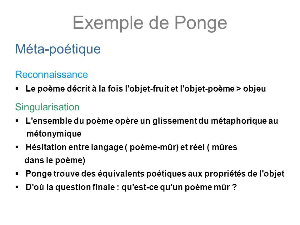 Exemple de Ponge Méta-poétique Reconnaissance Le poème décrit à la fois l'objet-fruit et l'objet-poème > objeu Singularisation L'ensemble du poème opè