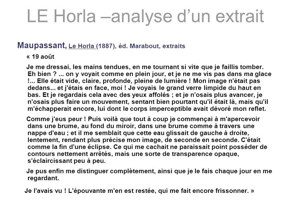 LE Horla –analyse dun extrait Maupassant, Le Horla (1887), éd. Marabout, extraits « 19 août Je me dressai, les mains tendues, en me tournant si vite q