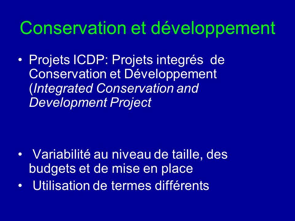 Conservation et développement Projets ICDP: Projets integrés de Conservation et Développement (Integrated Conservation and Development Project Variabilité au niveau de taille, des budgets et de mise en place Utilisation de termes différents