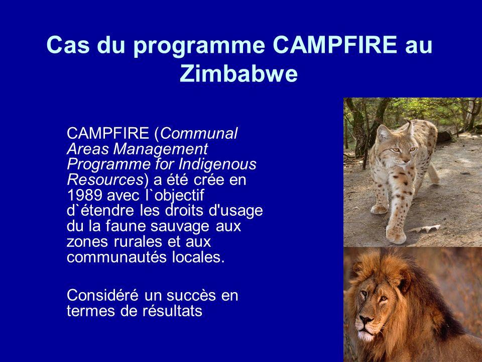 Cas du programme CAMPFIRE au Zimbabwe CAMPFIRE (Communal Areas Management Programme for Indigenous Resources) a été crée en 1989 avec l`objectif d`étendre les droits d usage du la faune sauvage aux zones rurales et aux communautés locales.