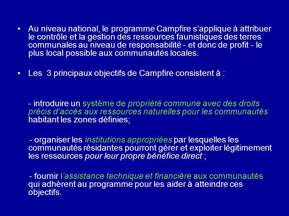 Au niveau national, le programme Campfire sapplique à attribuer le contrôle et la gestion des ressources faunistiques des terres communales au niveau de responsabilité - et donc de profit - le plus local possible aux communautés locales.