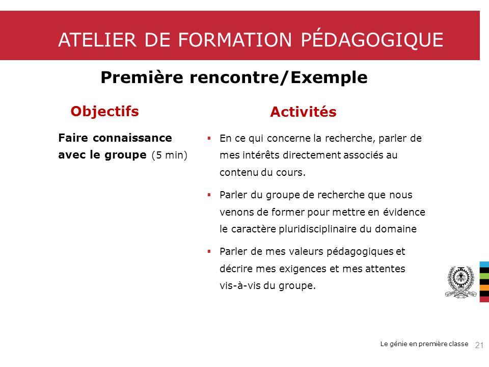 Le génie en première classe ATELIER DE FORMATION PÉDAGOGIQUE Première rencontre/Exemple Objectifs Faire connaissance avec le groupe (5 min) Activités