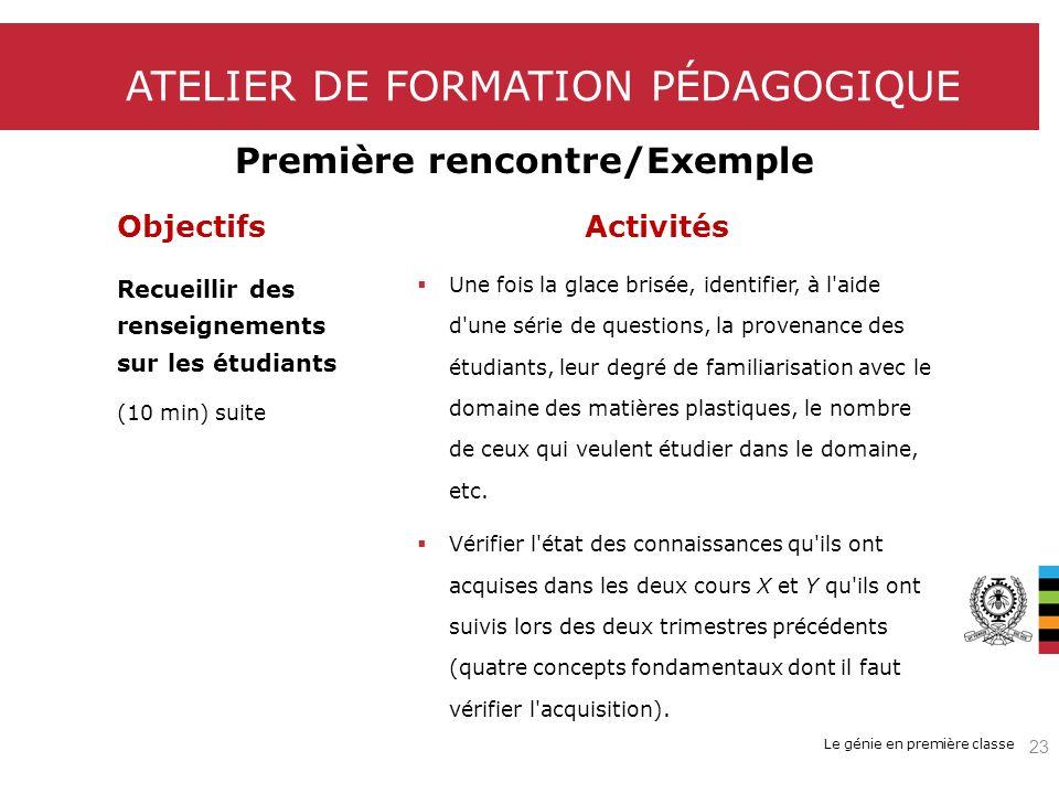 Le génie en première classe ATELIER DE FORMATION PÉDAGOGIQUE Première rencontre/Exemple ObjectifsActivités Recueillir des renseignements sur les étudi