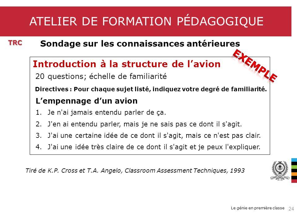 Le génie en première classe ATELIER DE FORMATION PÉDAGOGIQUE TRC Introduction à la structure de lavion 20 questions; échelle de familiarité Directives