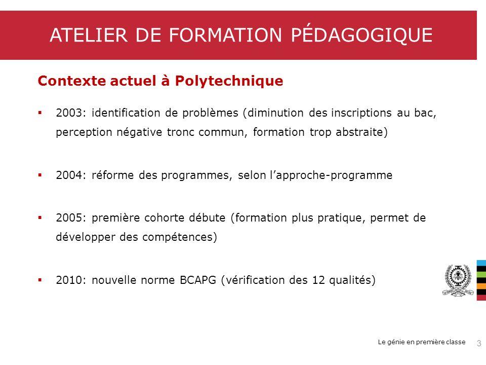 Le génie en première classe Contexte actuel à Polytechnique 2003: identification de problèmes (diminution des inscriptions au bac, perception négative