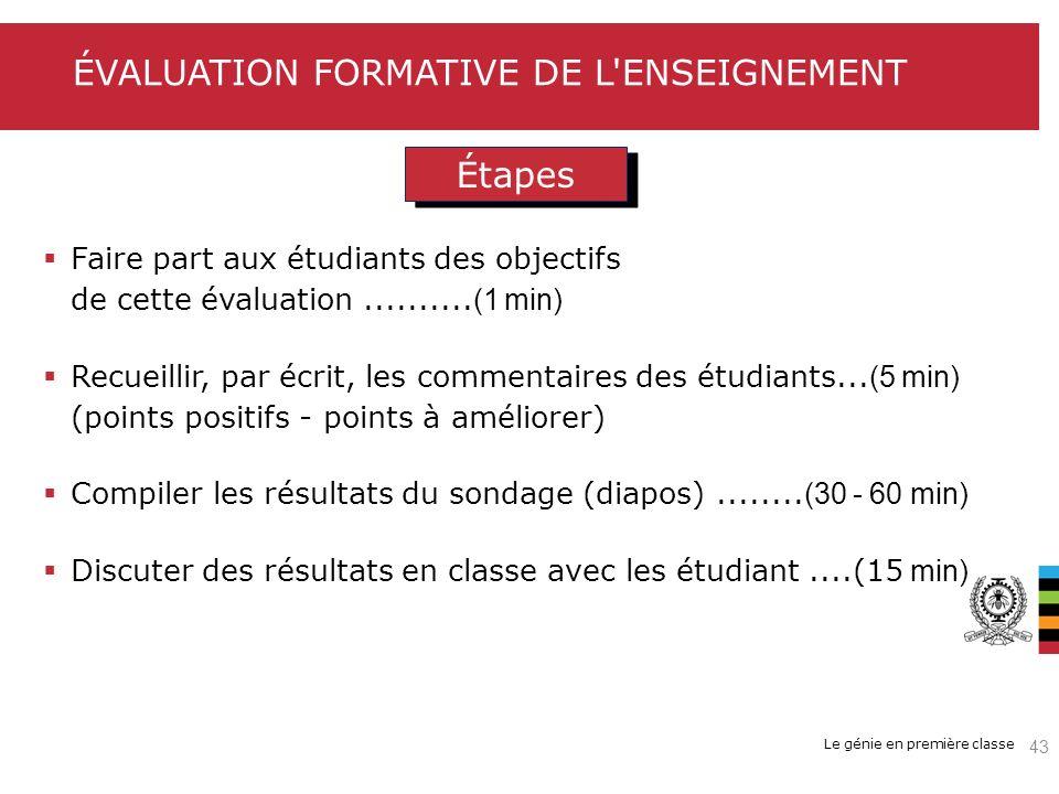 Le génie en première classe ÉVALUATION FORMATIVE DE L'ENSEIGNEMENT Étapes Faire part aux étudiants des objectifs de cette évaluation.......... (1 min)
