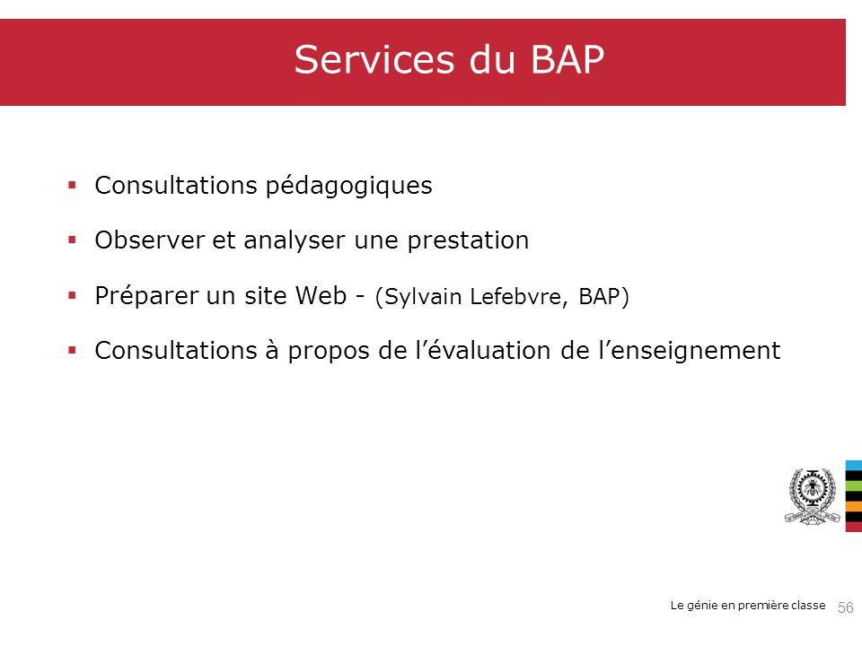 Le génie en première classe Services du BAP Consultations pédagogiques Observer et analyser une prestation Préparer un site Web - (Sylvain Lefebvre, B