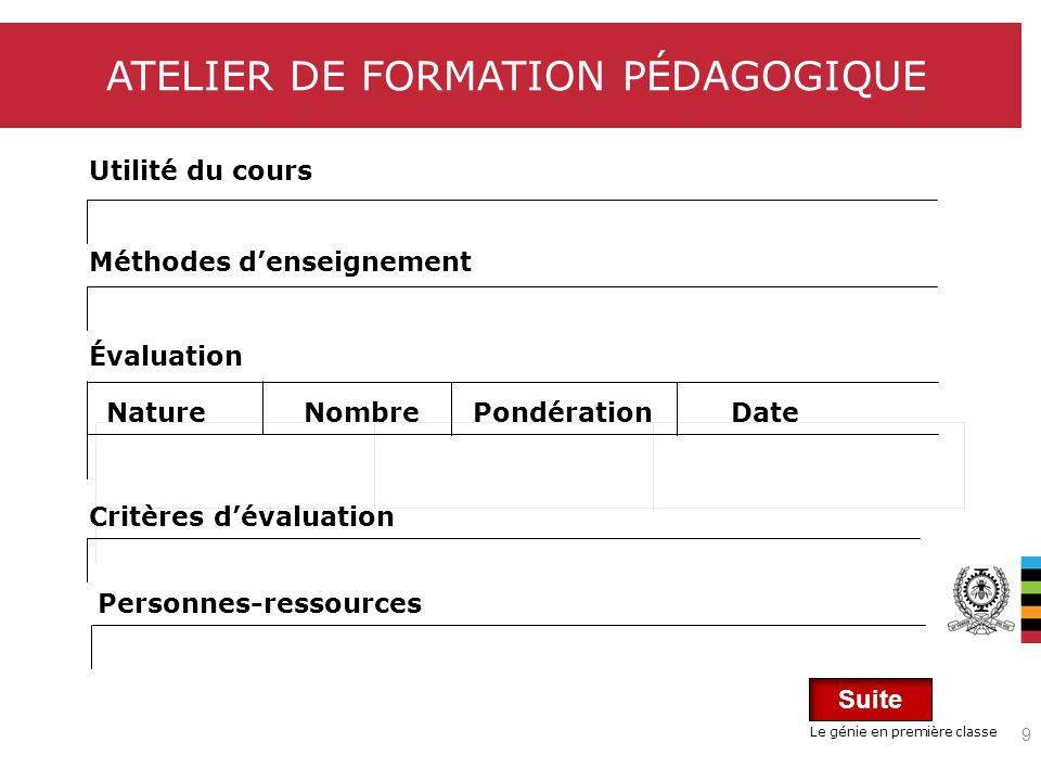 Le génie en première classe ATELIER DE FORMATION PÉDAGOGIQUE Documentation Programme du cours (répartition des contenus, activités, lectures, évaluations à travers les semaines du trimestre).