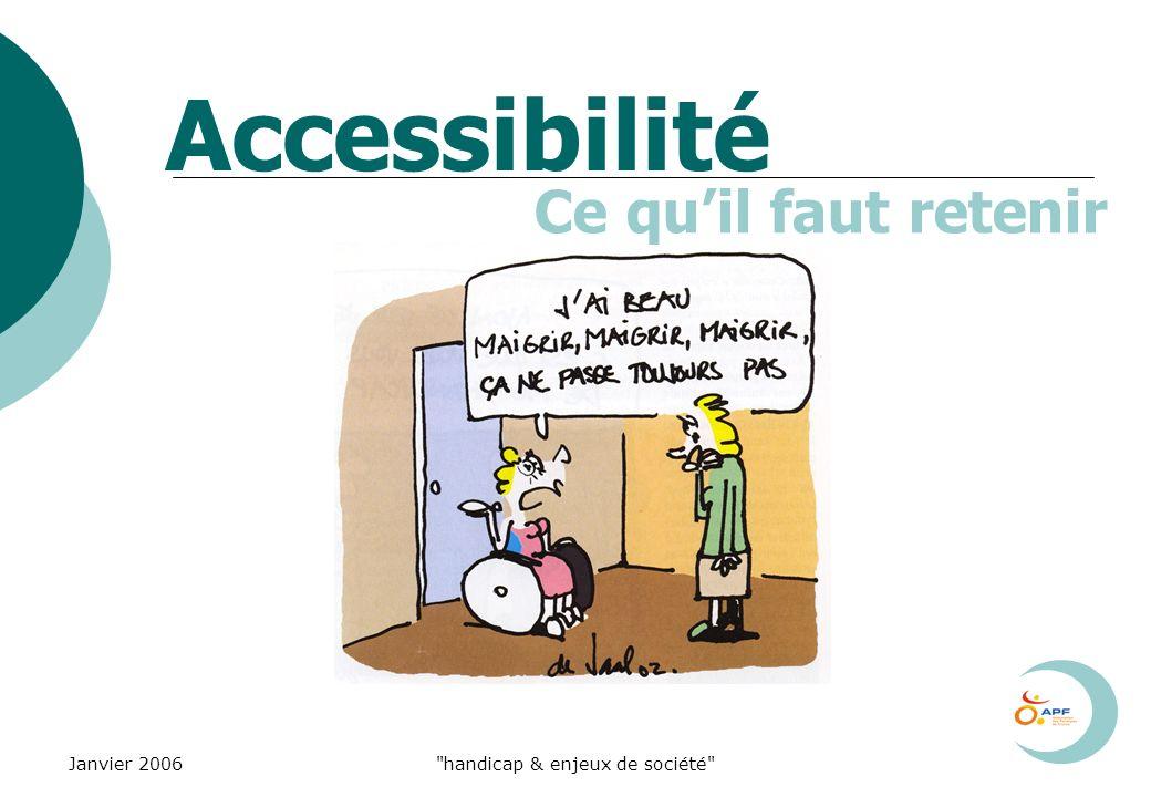 Janvier 2006 handicap & enjeux de société Accessibilité Ce quil faut retenir