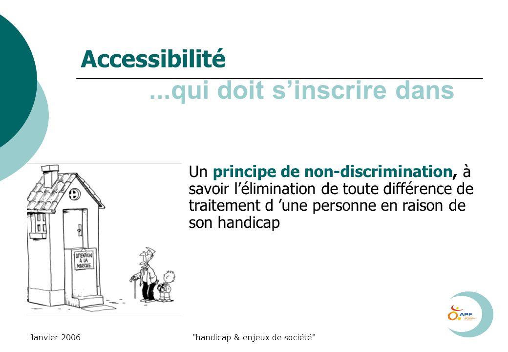 Janvier 2006 handicap & enjeux de société Accessibilité Un principe de non-discrimination, à savoir lélimination de toute différence de traitement d une personne en raison de son handicap...qui doit sinscrire dans