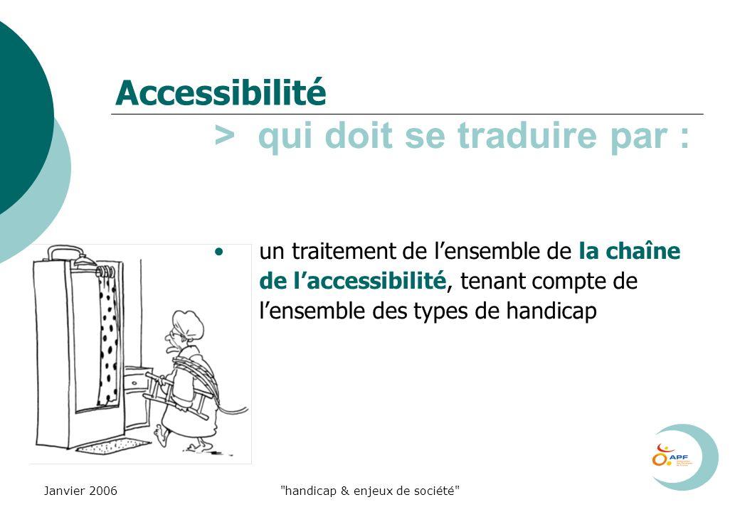 Janvier 2006 handicap & enjeux de société Accessibilité > qui doit se traduire par : un traitement de lensemble de la chaîne de laccessibilité, tenant compte de lensemble des types de handicap