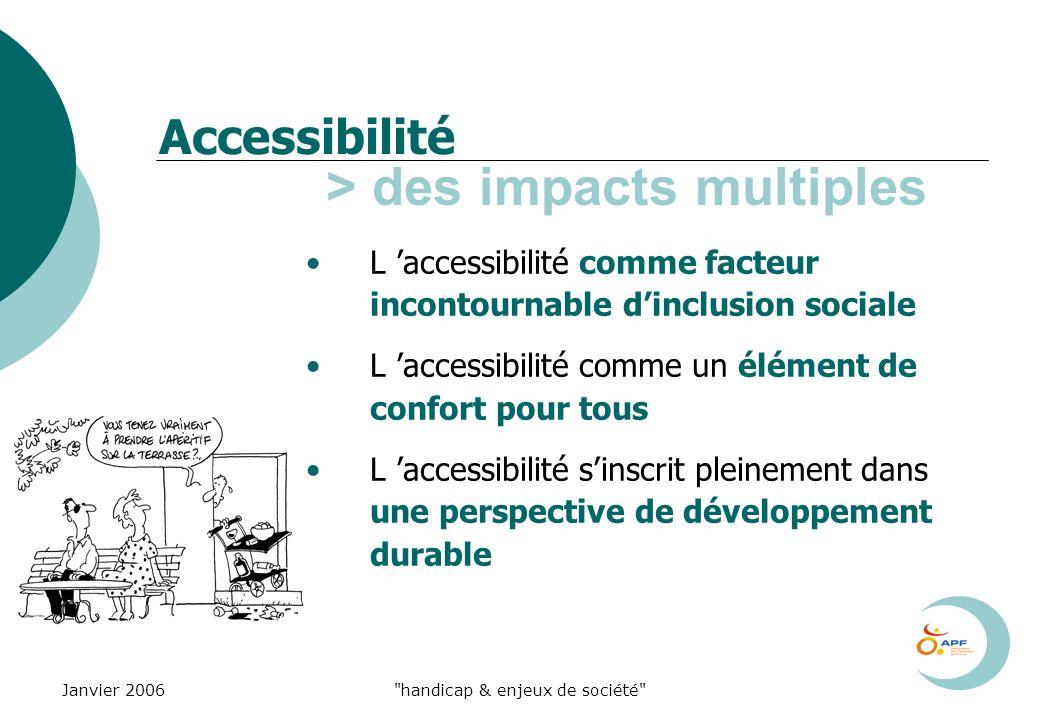 Janvier 2006 handicap & enjeux de société Accessibilité > des impacts multiples L accessibilité comme facteur incontournable dinclusion sociale L accessibilité comme un élément de confort pour tous L accessibilité sinscrit pleinement dans une perspective de développement durable