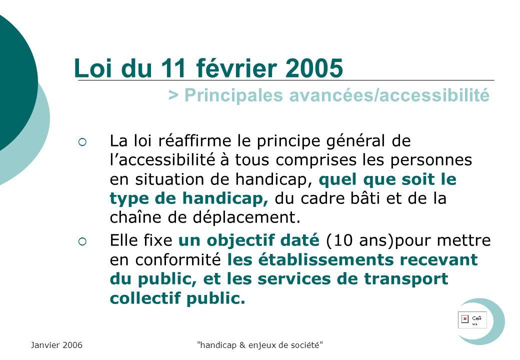 Janvier 2006 handicap & enjeux de société Loi du 11 février 2005 La loi réaffirme le principe général de laccessibilité à tous comprises les personnes en situation de handicap, quel que soit le type de handicap, du cadre bâti et de la chaîne de déplacement.