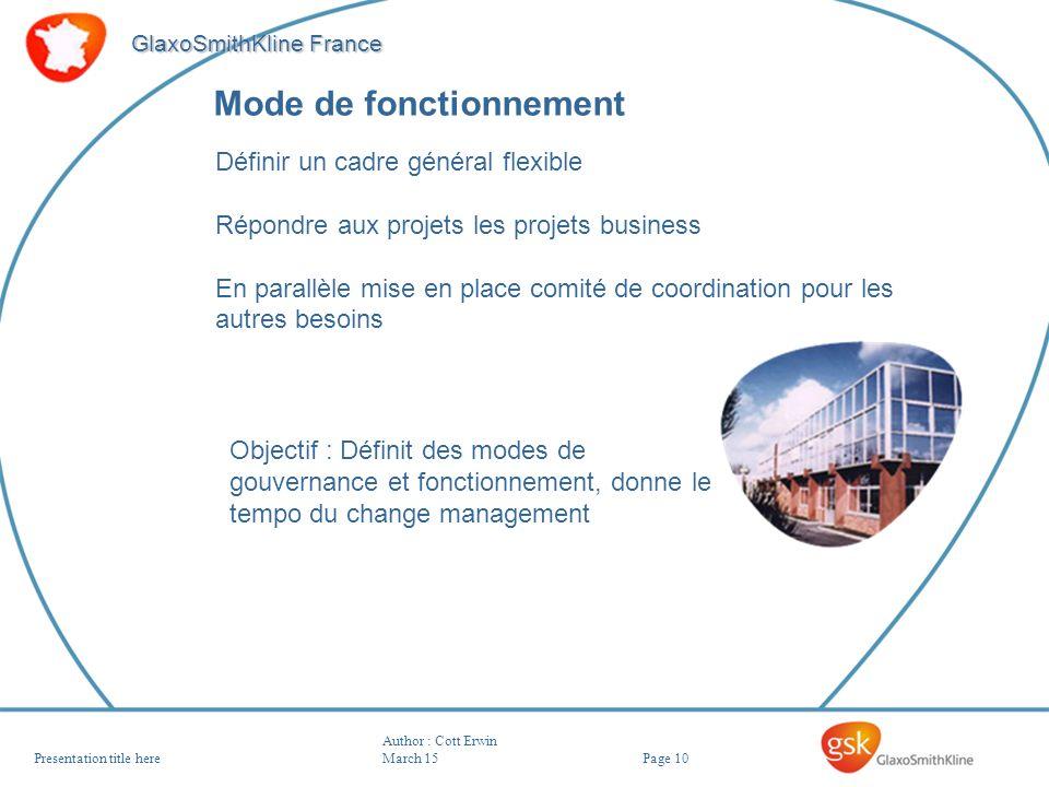 Page 10 GlaxoSmithKline France Author : Cott Erwin March 15Presentation title here Mode de fonctionnement Définir un cadre général flexible Répondre a