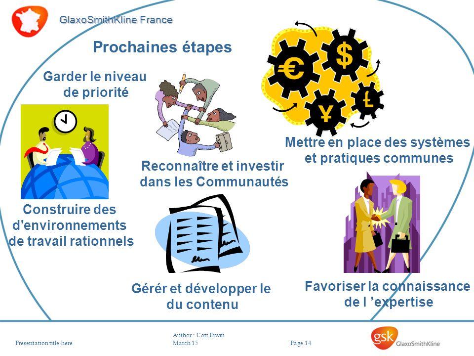 Page 14 GlaxoSmithKline France Author : Cott Erwin March 15Presentation title here Prochaines étapes Favoriser la connaissance de l expertise Mettre e