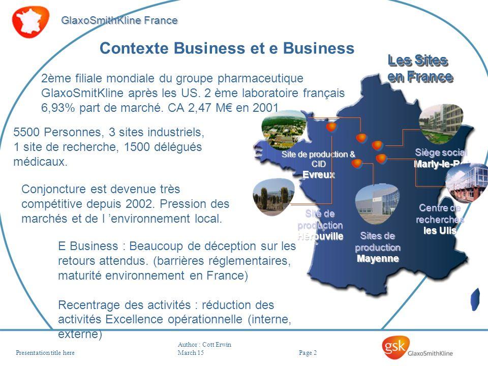 Page 2 GlaxoSmithKline France Author : Cott Erwin March 15Presentation title here Site de production & CID Evreux Siège social Marly-le-Roi Centre de