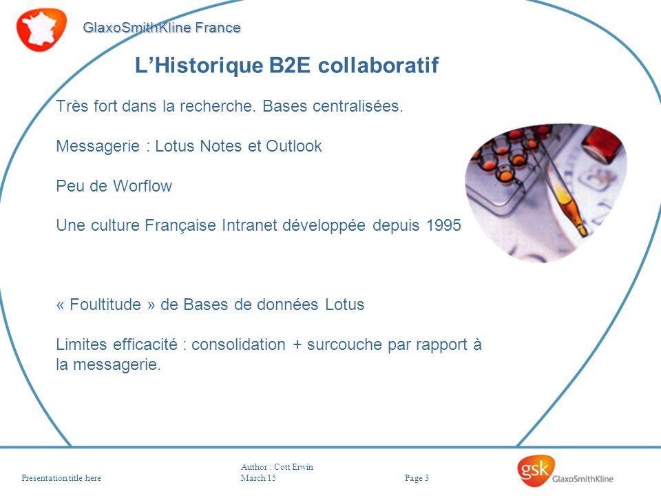 Page 3 GlaxoSmithKline France Author : Cott Erwin March 15Presentation title here LHistorique B2E collaboratif Très fort dans la recherche. Bases cent