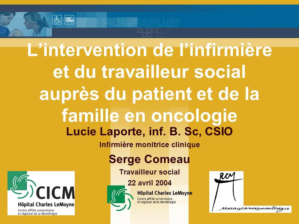 Lintervention de linfirmière et du travailleur social auprès du patient et de la famille en oncologie Lucie Laporte, inf.