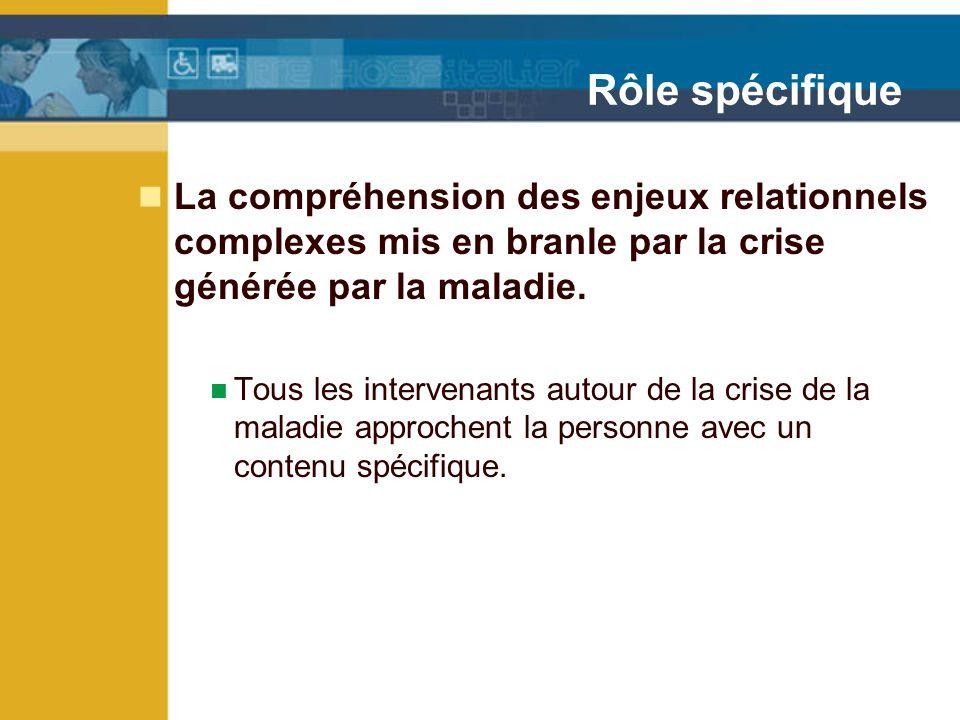 Rôle spécifique La compréhension des enjeux relationnels complexes mis en branle par la crise générée par la maladie.
