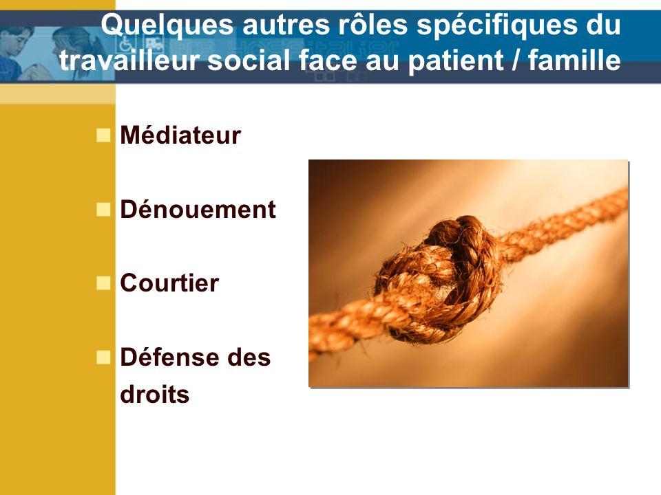 Quelques autres rôles spécifiques du travailleur social face au patient / famille Médiateur Dénouement Courtier Défense des droits