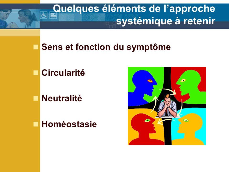 Quelques éléments de lapproche systémique à retenir Sens et fonction du symptôme Circularité Neutralité Homéostasie