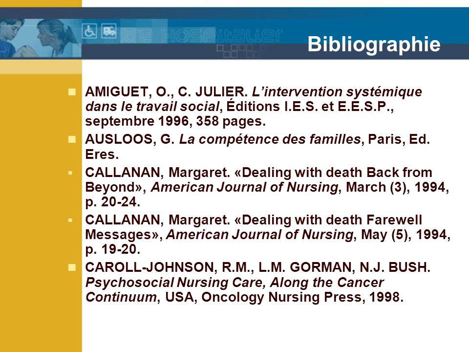 Bibliographie AMIGUET, O., C.JULIER.
