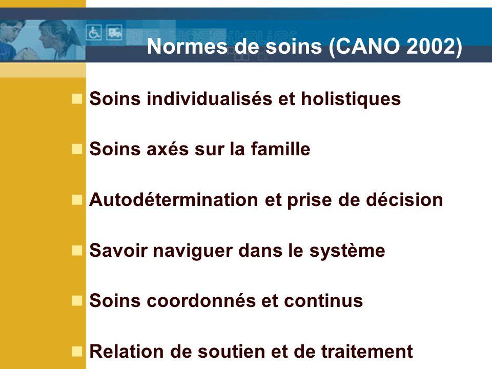 Normes de soins (CANO 2002) Soins individualisés et holistiques Soins axés sur la famille Autodétermination et prise de décision Savoir naviguer dans le système Soins coordonnés et continus Relation de soutien et de traitement