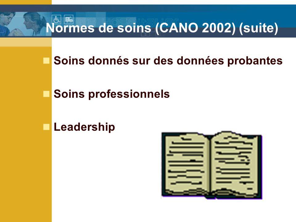 Normes de soins (CANO 2002) (suite) Soins donnés sur des données probantes Soins professionnels Leadership