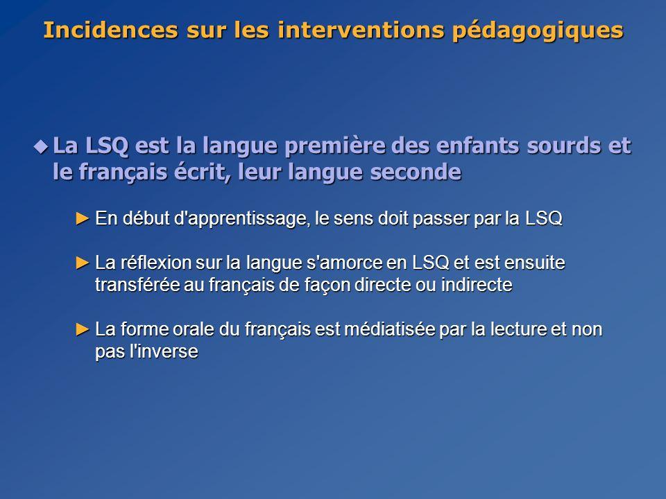 u La LSQ est la langue première des enfants sourds et le français écrit, leur langue seconde En début d apprentissage, le sens doit passer par la LSQEn début d apprentissage, le sens doit passer par la LSQ La réflexion sur la langue s amorce en LSQ et est ensuite transférée au français de façon directe ou indirecteLa réflexion sur la langue s amorce en LSQ et est ensuite transférée au français de façon directe ou indirecte La forme orale du français est médiatisée par la lecture et non pas l inverseLa forme orale du français est médiatisée par la lecture et non pas l inverse Incidences sur les interventions pédagogiques