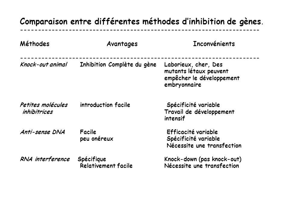 Comparaison entre différentes méthodes dinhibition de gènes. ---------------------------------------------------------------------- MéthodesAvantagesI