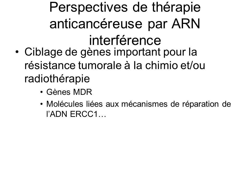 Perspectives de thérapie anticancéreuse par ARN interférence Ciblage de gènes important pour la résistance tumorale à la chimio et/ou radiothérapie Gè