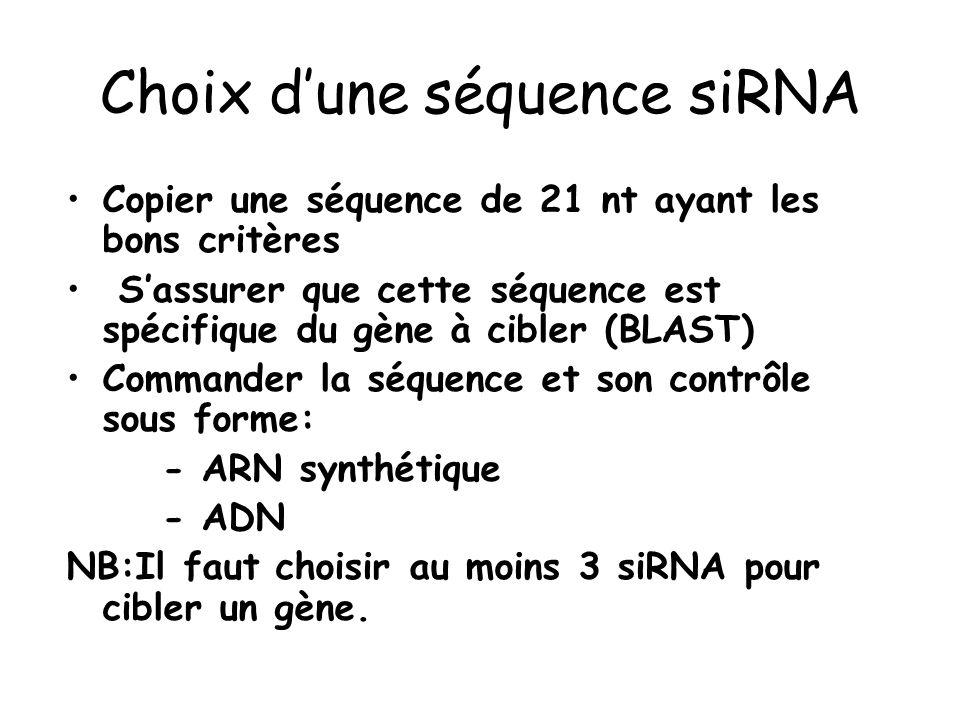 Choix dune séquence siRNA Copier une séquence de 21 nt ayant les bons critères Sassurer que cette séquence est spécifique du gène à cibler (BLAST) Com